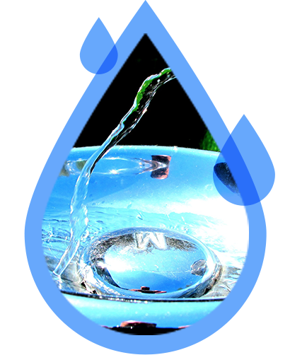 a blue water droplet graphic with an image of a person getting water from a water cooler inside of it